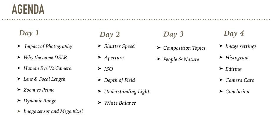 Learn Photography Agenda